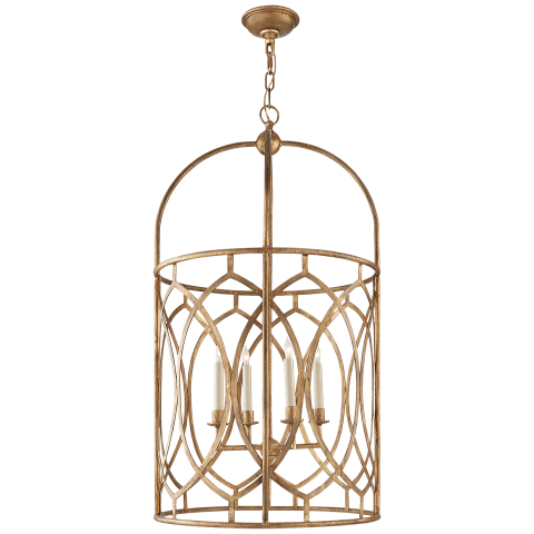 Marquise Tall Lantern in Gilded Iron