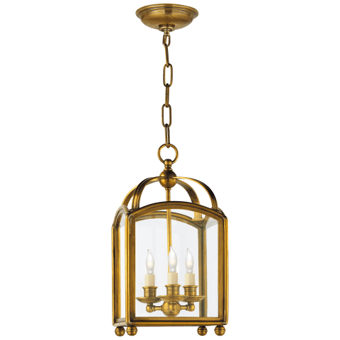 Arch Top Mini Lantern in Antique-Burnished Brass
