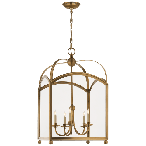 Arch Top Large Lantern in Antique-Burnished Brass