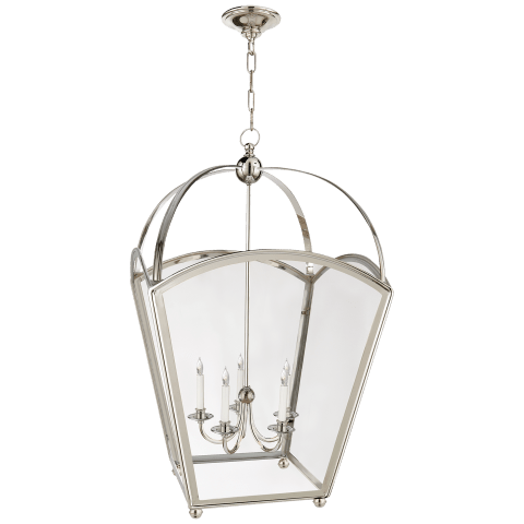 Arch Top Large Tapered Lantern in Polished Nickel