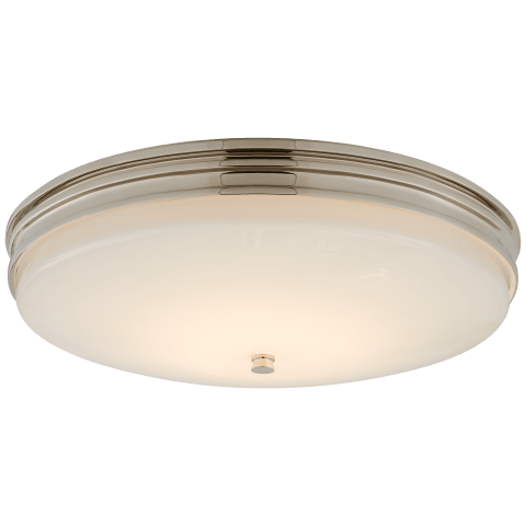 Launceton Medium Flush Mount in Polished Nickel with White Glass