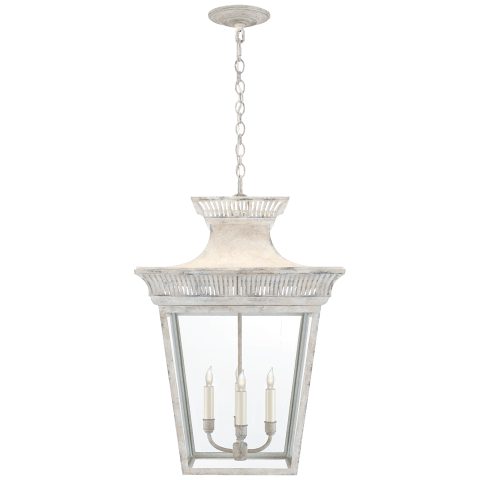 Elsinore Large Hanging Lantern in Old White with Clear Glass