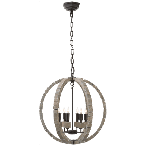 Crystal Cube Spherical Chandelier in Polished Nickel