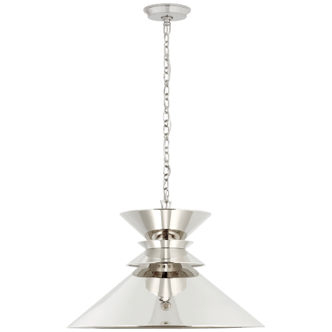Alborg Large Stacked Pendant in Polished Nickel with Polished Nickel Shade