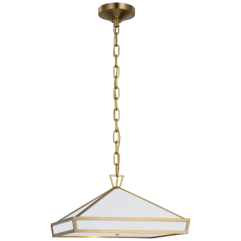Darlana Small Pendant in Antique-Burnished Brass with Matte White Panels and Acrylic Diffuser