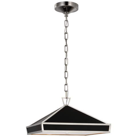 Darlana Small Pendant in Polished Nickel with Matte Black Panels and Acrylic Diffuser