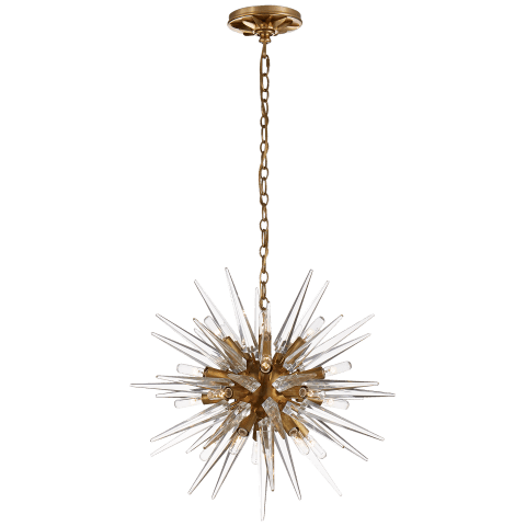 Quincy Small Sputnik Chandelier in Antique-Burnished Brass with Clear Acrylic