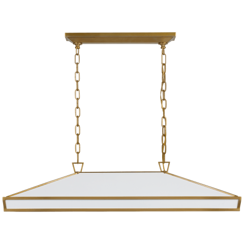 Darlana Large Linear Pendant in Antique-Burnished Brass with Matte White Panels and Acrylic Diffuser