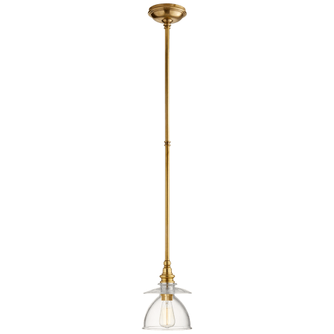 Covington Pendant in Antique-Burnished Brass with Clear Dome Glass