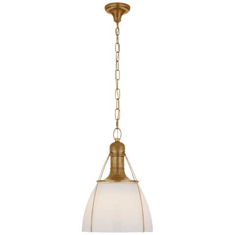 "Prestwick 18"" Pendant in Antique-Burnished Brass with White Glass"