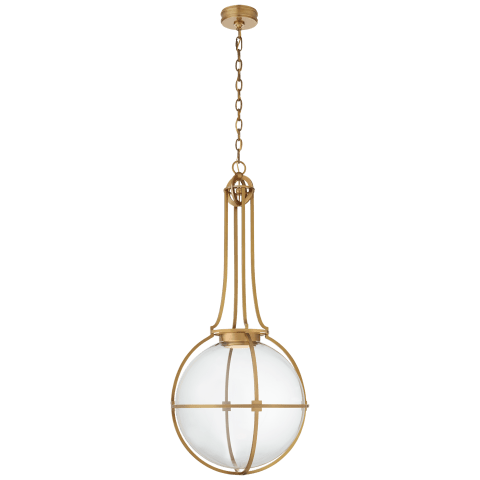 Gracie Grande Captured Globe Pendant in Antique-Burnished Brass with Clear Glass