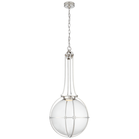 Gracie Grande Captured Globe Pendant in Polished Nickel with Clear Glass