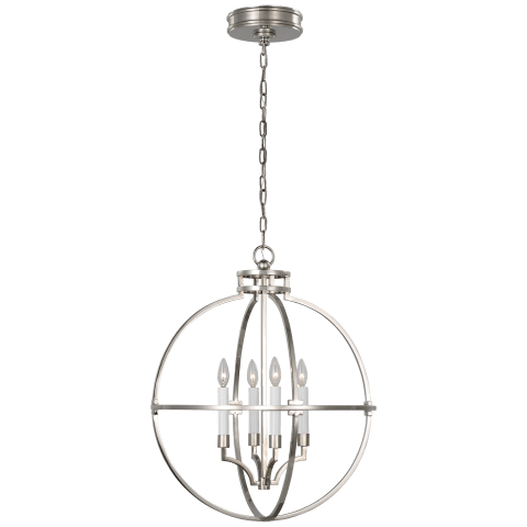 "Lexie 24"" Globe Lantern in Polished Nickel"
