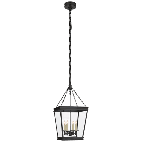 Launceton Small Square Lantern in Bronze with Clear Glass