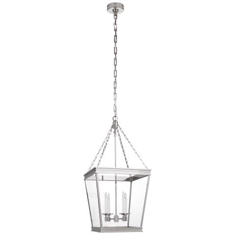 Launceton Medium Square Lantern in Polished Nickel with Clear Glass