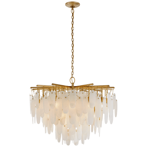 Cora Medium Waterfall Chandelier in Antique-Burnished Brass with Alabaster