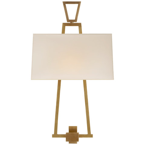 Modern Darlana Bouillotte Sconce in Antique-Burnished Brass with Natural Paper Shade