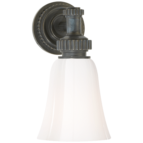 Ruhlmann Single Bath Sconce in Bronze with White Glass