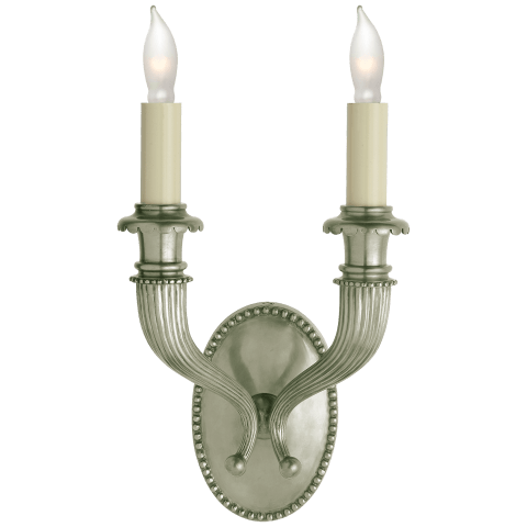 Fluted Horn Double Sconce in Antique Nickel