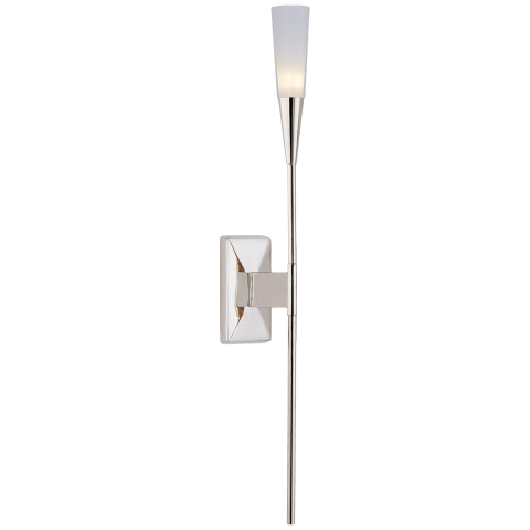 Stellar Single Tail Sconce in Polished Nickel with Frosted Acrylic