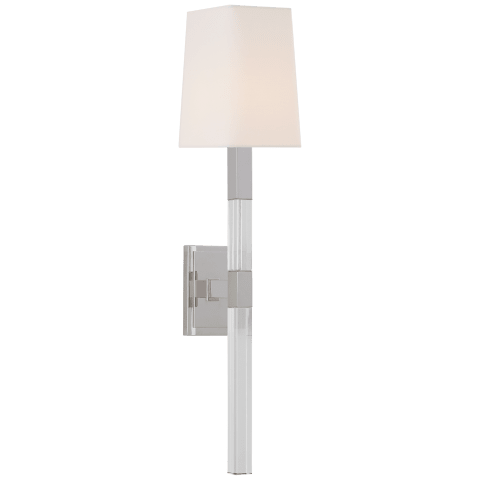 Reagan Medium Tail Sconce in Polished Nickel and Crystal with Linen Shade