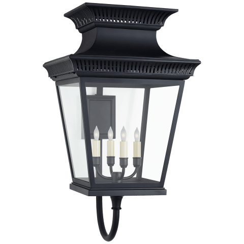 Elsinore Large Bracket Lantern in Black with Clear Glass