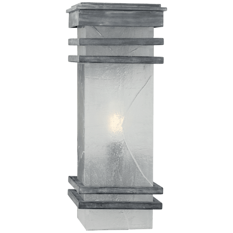 Mission Banded Lantern in Weathered Zinc with Clear Textured Glass
