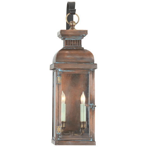Suffork Medium Scroll Arm Lantern in Natural Copper