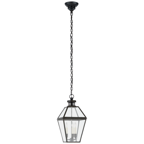 Stratford Small Hanging Lantern in Blackened Copper with Clear Glass