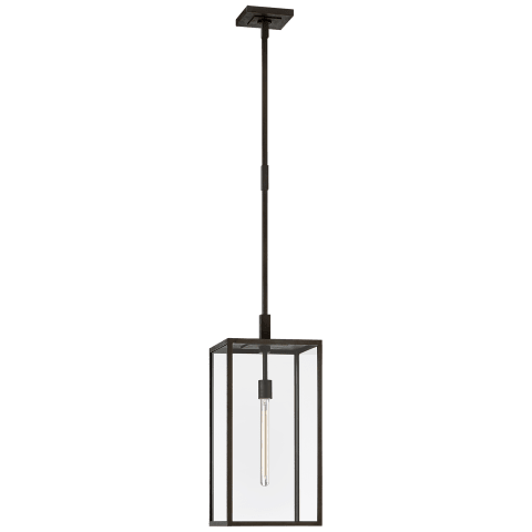 Fresno Large Hanging Lantern in Aged Iron with Clear Glass