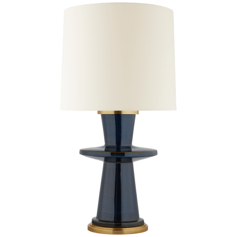 Varney Medium Table Lamp in Mixed Blue Brown with Linen Shade