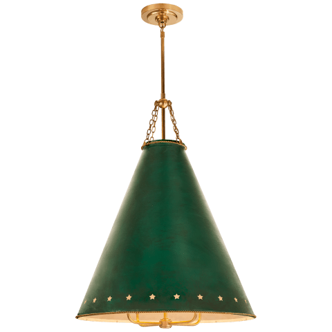 Hadley Medium Pendant in Natural Brass with Dark Green Tole and White Interior Shade