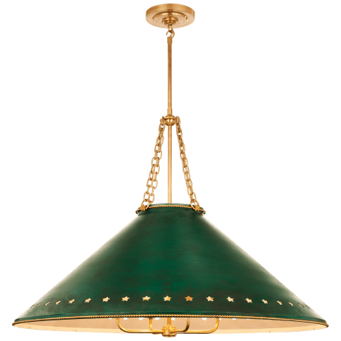 Hadley Large Pendant in Natural Brass with Dark Green Tole and White Interior Shade