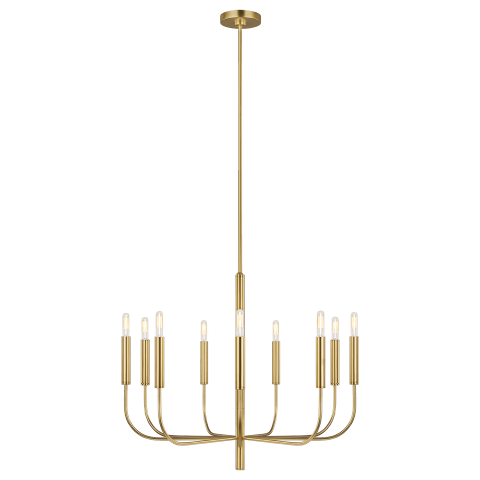 Brianna 9 - Light Chandelier Burnished Brass