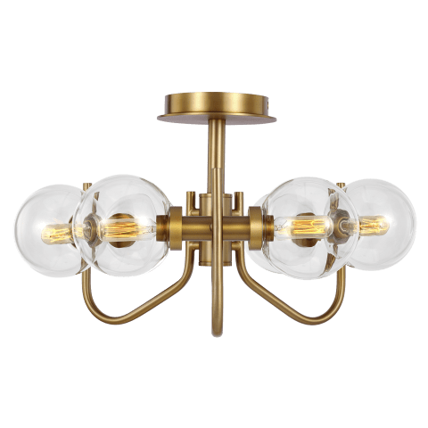 Verne Semi-Flush Mount Burnished Brass