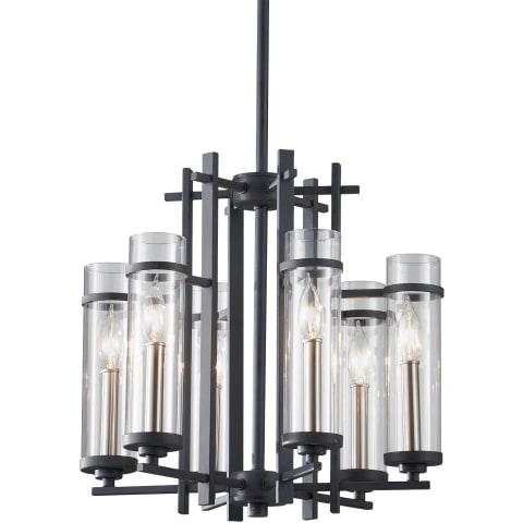 Ethan 6 - Light Single Tier Chandelier Antique Forged Iron / Brushed Steel