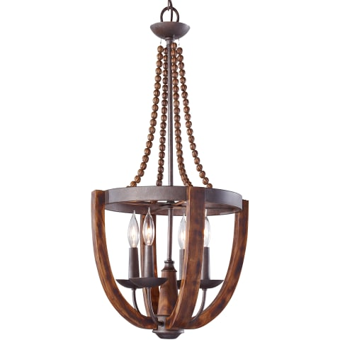 Adan 4 - Light Chandelier Rustic Iron / Burnished Wood