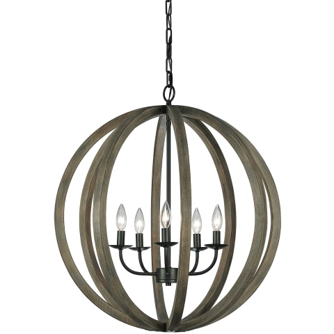 Allier 5 - Light Large Pendant Weathered Oak Wood / Antique Forged Iron