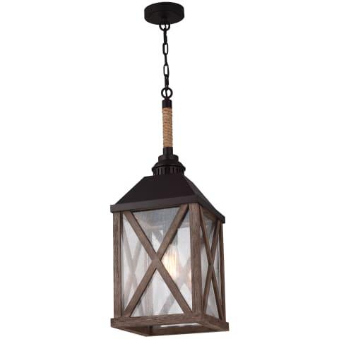 Lumiere' 1 - Light Chandelier Dark Weathered Oak / Oil Rubbed Bronze