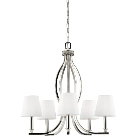 Pave 5 - Light Crystal Inlay Chandelier  Polished Nickel