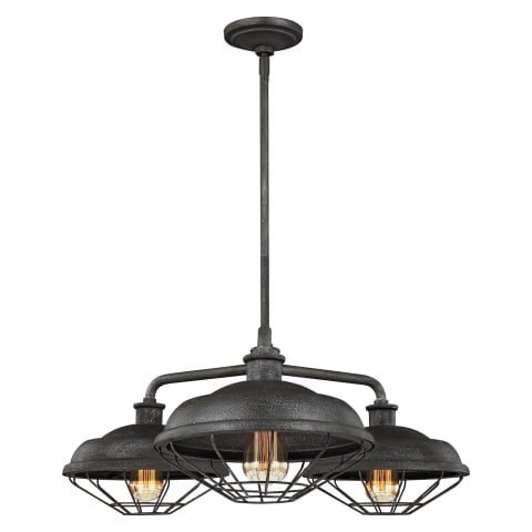 Lennex 3 - Light Chandelier Slate Grey Metal