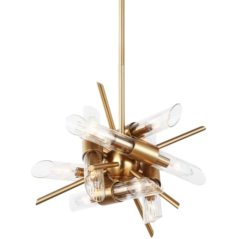 Quorra 12 - Light Chandelier Burnished Brass