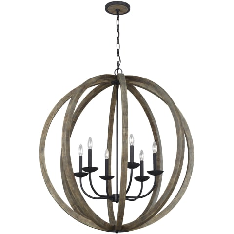 Allier 6 - Light Pendant Chandelier Weathered Oak Wood / Antique Forged Iron