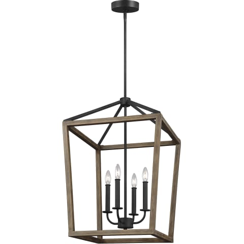 Gannet 4 - Light Chandelier Weathered Oak Wood / Antique Forged Iron
