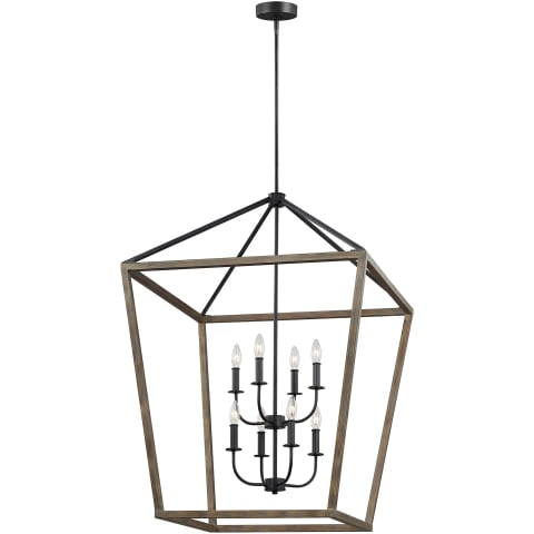 Gannet 8 - Light Chandelier Weathered Oak Wood / Antique Forged Iron