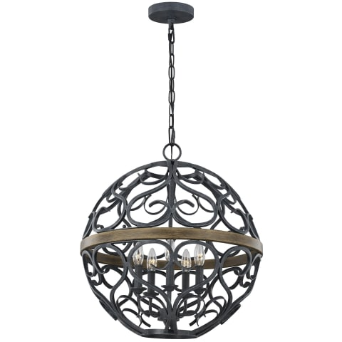 Avila 5 - Light Chandelier Weathered Zinc/Weathered Oak