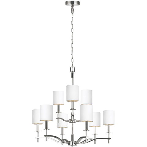 Hewitt 9 - Light Chandelier Polished Nickel