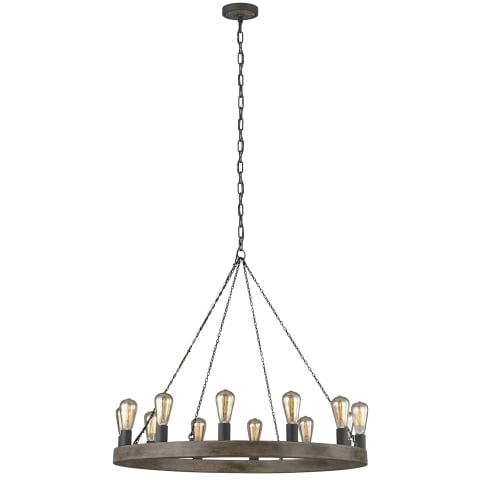 Avenir 12-Light Chandelier Weathered Oak Wood / Antique Forged Iron