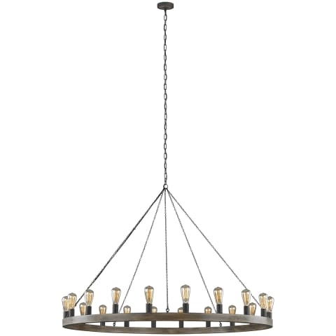 Avenir Large Chandelier Weathered Oak Wood / Antique Forged Iron