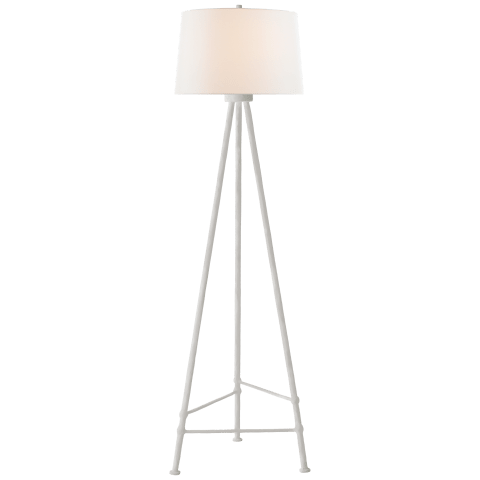 Lafitte Large Floor Lamp in Plaster White with Linen Shade